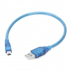 Anti-interference USB AM to Mini 5-Pin Connection Cable - Blue (30cm)