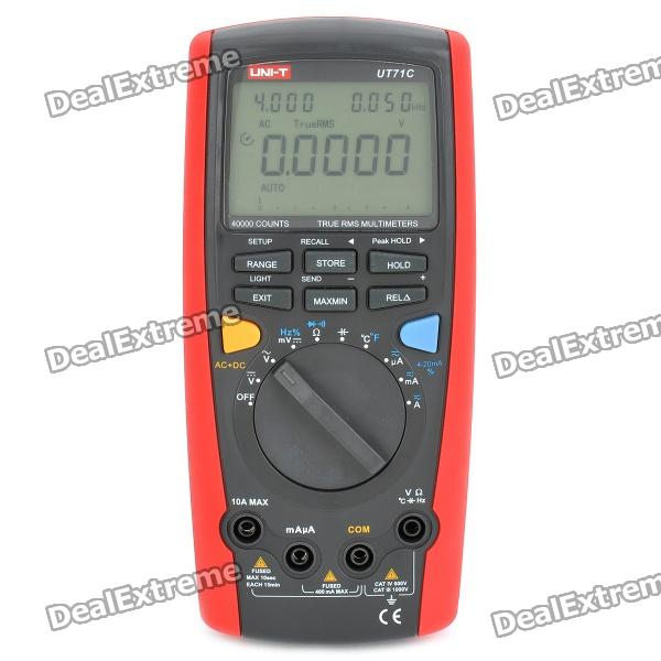 UNI-T UT71C 2.8 LCD Intelligent Digital Multimeter - Red + Black (1 x 9V 6F22) jtron 1000v 10a multimeter test pen black red 2 pcs