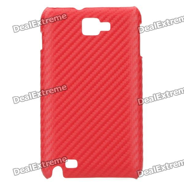 Protective Carbon Fiber Woven Pattern Back Case Cover for Samsung i9220 - Big Red newellya for iphone 7 plus carbon fiber leather coated plated pc back protective cover gold