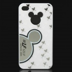 Mickey Pattern Protective Back Cover Case for iPhone 4/4S - White + Black + Silver