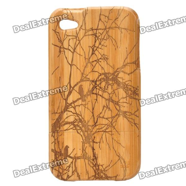 Protective Autumn Scenery Style Bamboo Case for Iphone 4 / 4S - Khaki