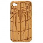 Protective Spider Pattern Bamboo Case for iPhone 4 / 4S - Khaki