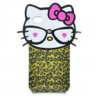 Hello Kitty Leopard Style Protective TPU Back Case for iPhone 4
