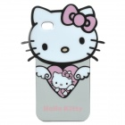 Cute Hello Kitty Style Protective TPU Back Case for iPhone 4 - White + Pink + Black