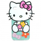 Cute Hello Kitty Style Protective TPU Case for iPhone 4 - Green + Black + Pink