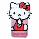 Funny Hello Kitty Style Protective TPU Case for iPhone 4 - Black + Pink