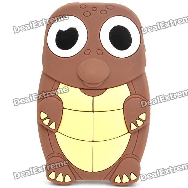 Funny Cartoon Turtle Style Protective Silicone Case for Iphone 4 - Brown + Light Yellow cute cartoon turtle style protective silicone back case for iphone 4 4s yellow