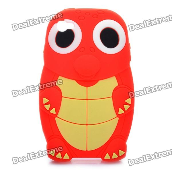 Cute Cartoon Turtle Style Protective Back Case for Iphone 4 - Red + Light Yellow cute cartoon turtle style protective silicone back case for iphone 4 4s yellow