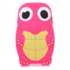 Funny Cartoon Turtle Style Protective Silicone Case for Iphone 4 - Deep Pink + Yellow