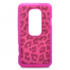 Protective Hard Silicone + Leather Back Case for HTC EVO 3D - Purple + Deep Pink