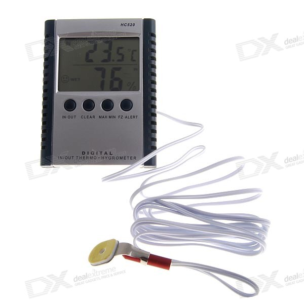 Digital Indoor/Outdoors Thermo-Hydrometer with Large 2.4-inch LCD