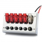 Flip-up Switch Panel Box for Sport Racing Car - Silver + Red (DC 12V)