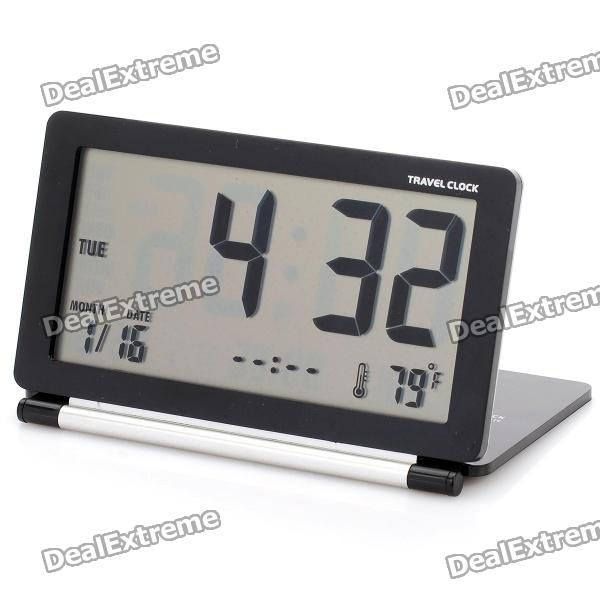 3.8 LCD Folding Digital Travel Clock with Calendar / Alarm Clock - Black + Silver Grey (1 x CR2025) leap pq9903a digital chess clock with lcd display