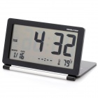 "3.8"" LCD Folding Digital Travel Clock with Calendar / Alarm Clock - Black + Silver Grey (1 x CR2025)"