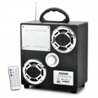 "Rechargeable 1.5"" LED MP3 Player Music Speaker w/ Colorful Flashing Light / FM / SD / TF - Black"