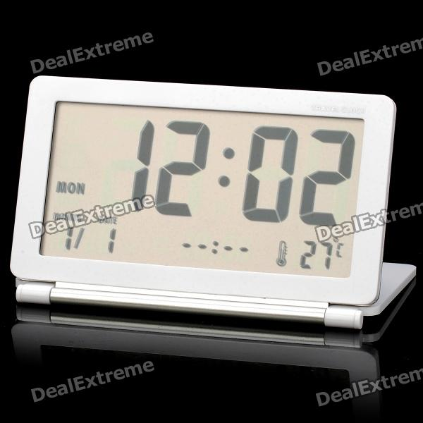 3.8 LCD Folding Digital Travel Clock with Calendar / Alarm Clock - White + Silver Grey (1 x CR2025) novelty run around wake up n catch me digital alarm clock on wheels white 4 aaa