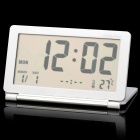 "3.8"" LCD Folding Digital Travel Clock with Calendar / Alarm Clock - White + Silver Grey (1 x CR2025)"