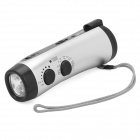 Hand-Crank / USB Powered 12000MCD 5-LED White Light Flashlight w/ FM / Alarm Siren - Silver
