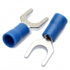 Copper Cable Wire Fork Terminal Connector - Blue + Silver (6.5MM / 50 Piece Pack)
