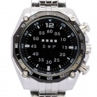 Fashion Stainless Steel Red/Yellow LED Water Resistant Wrist Watch - Black + Silver (2 x CR2013)