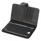 Protect Artificial Leather Wallet Case w/ Plastic Holder for Samsung Galaxy Note / i9220 - Black