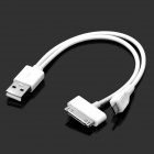 USB Male to 30 pin + Micro USB Male Charging Cable for iPhone 4S / Samsung i9100 - White (15cm)