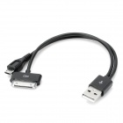 USB Male to 30 pin + Micro USB Male Charging Cable for iPhone 4S / Samsung i9100 - Black (15cm)