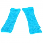 Stylish Lady's Long Wedding Mesh Fingerless Gloves - Blue (Pair)