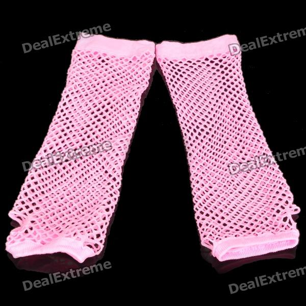 Stylish Lady's Long Wedding Mesh Fingerless Gloves - Pink (Pair)
