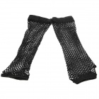 Stylish Lady's Long Wedding Mesh Fingerless Gloves - Black (Pair)