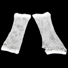 Stylish Lady's Long Wedding Mesh Fingerless Gloves - White (Pair)