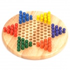 Multi-Color Wood Chess Brain Teaser Game Chinese Checkers Set