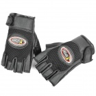 Sport Cycling PU Leather Half-Finger Gloves - Black (Pair)