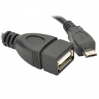 Micro USB Male to USB Female OTG Data Cable for Samsung - Black (16cm)