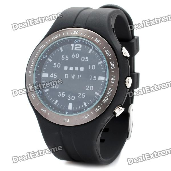 Fashion Blue Light LED Water Resistant Wrist Watch - Black + Grey (2 x CR2016) fashion stainless steel red yellow led water resistant wrist watch black 2 x cr2016
