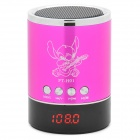 "0.9"" LED Mini Music Speaker w/ USB / TF / FM - Rose Red"