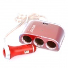 1-to-3 Car Cigarette Lighter Socket Splitter with USB Output - Red (12~24V)