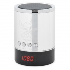 "0.9"" LED Mini Music Speaker w/ USB / TF / FM - Silver"