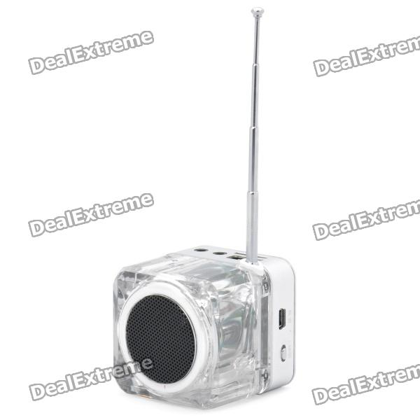 "1.4"" LCD Mini Music Speaker w USB /TF /FM - Silver thumbnail"
