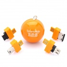 Folding Charger / Data Cable / TF Card Reader w/ 5 Charging Adapters for Cell Phone - Orange