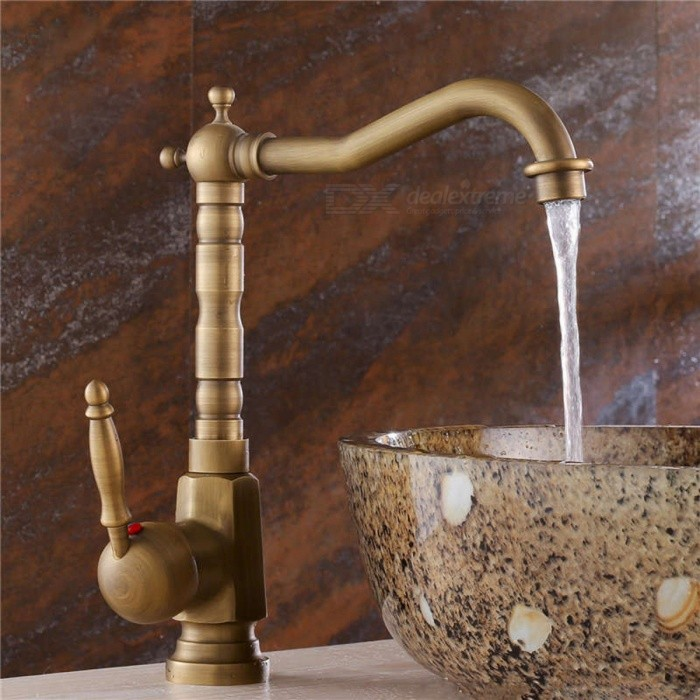 Antique Single-handle Faucet Copper Kitchen Water Tap kitchen faucets black oil brushed rotating copper crane kitchen sink faucet hot and cold water brass taps kitchen mixer tap