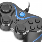 Betop BTP-2165 Dual-shock USB Gamepad Game Controller for PC Games - Black + Sky Blue