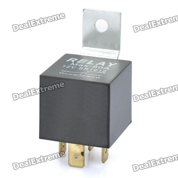 80A 4-Pin Car Power Relay (DC 12V) jtron 4 pin power relay black 12v 30a