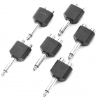 3.5MM-In 2XFemale to 6.3MM-Out 1XMale Audio Split Adapter - Black (6-Piece Pack)