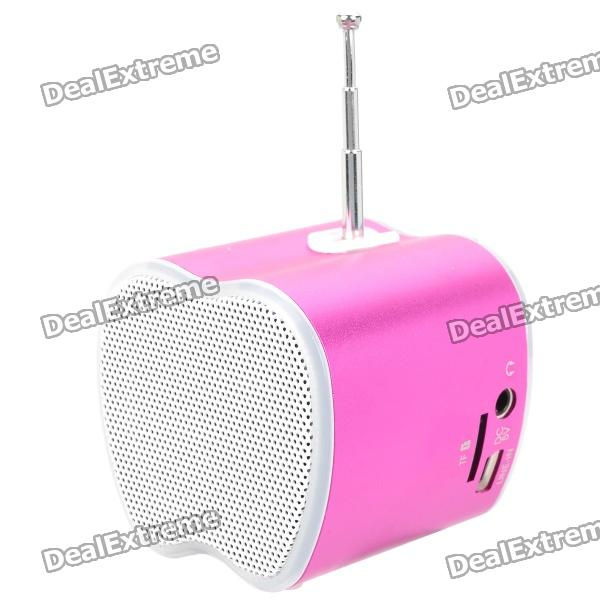 Mini USB Rechargeable Music Speaker w USB/TF Card/FM - Pink mini cylinder shaped bluetooth v2 0 speaker w fm tf mini usb usb blue black transparent