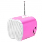 Mini USB Rechargeable Music Speaker w USB/TF Card/FM - Pink