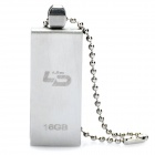 LD V08 Stainless Steel USB 2.0 Flash Drive with Keychain Strap - Silver (16GB)