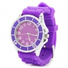 Fashion Silikon-Band Stainless Steel Diam Quarz-Armbanduhr - Purple (1 x ETA377)