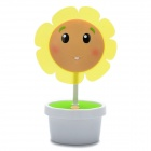 Cute Sunflower Style USB Powered Flexible Neck 2-Mode 16-LED White Light Night Lamp