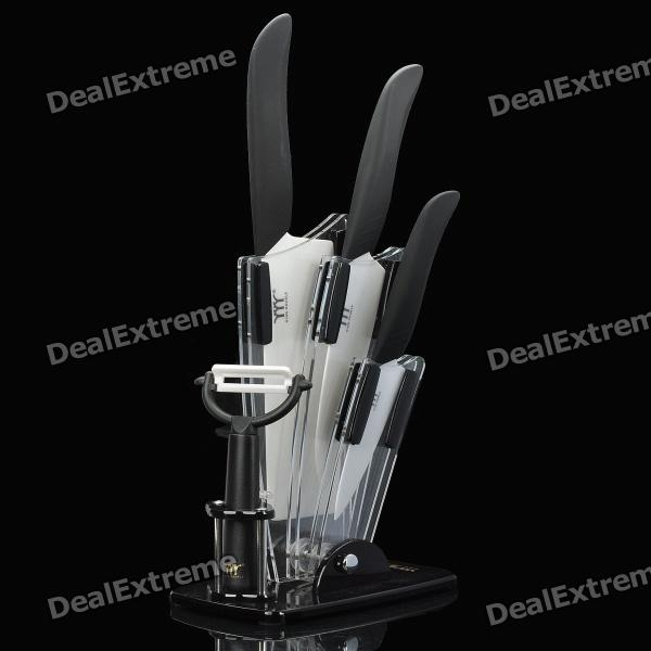 Chic Ceramic Paring Knife / Chefs Knife / Chopping Knife / Peeler w/ Holder - Black (5 Pieces) ontario knife rat 1